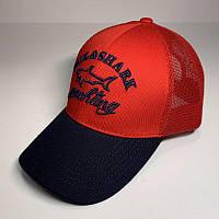 Бейсболка унисекс Paul & Shark реплика Красная с черным козырьком с сеткой
