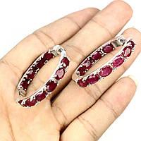 Срібні сережки-кільця з натуральними рубінами