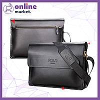 Кожаная сумка-портфель Polo Videng A4 / Мужская сумка через плечо