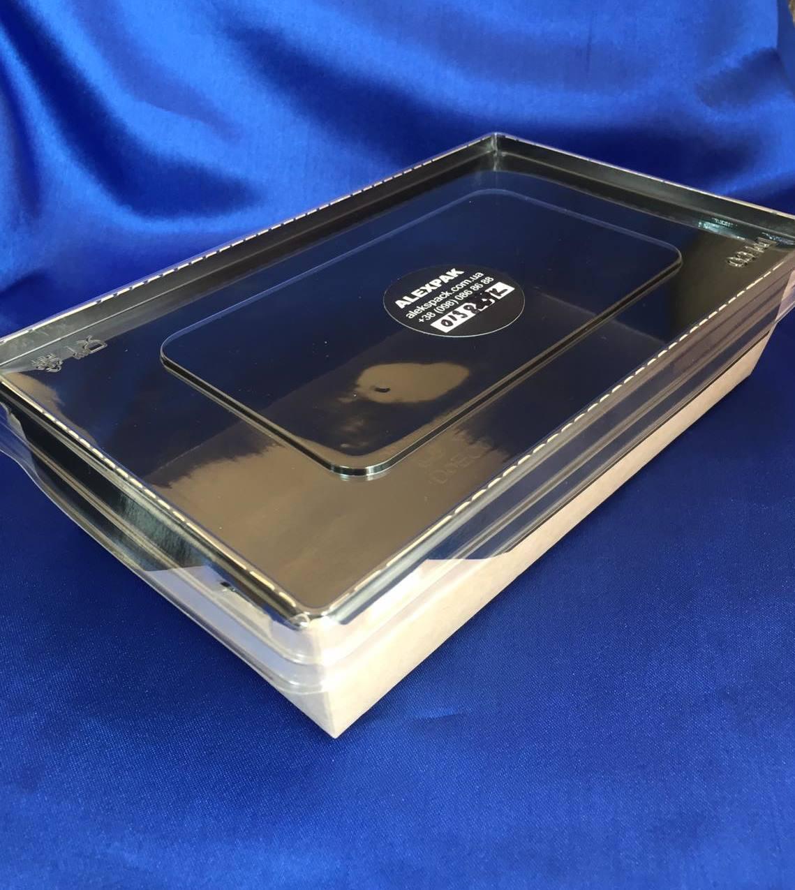 Бумажный Контейнер для еды на вынос 800мл Крафт Черное дно +прозрачная крышка плоская