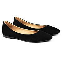 Балетки замшевые Woman's heel черные (О-888)
