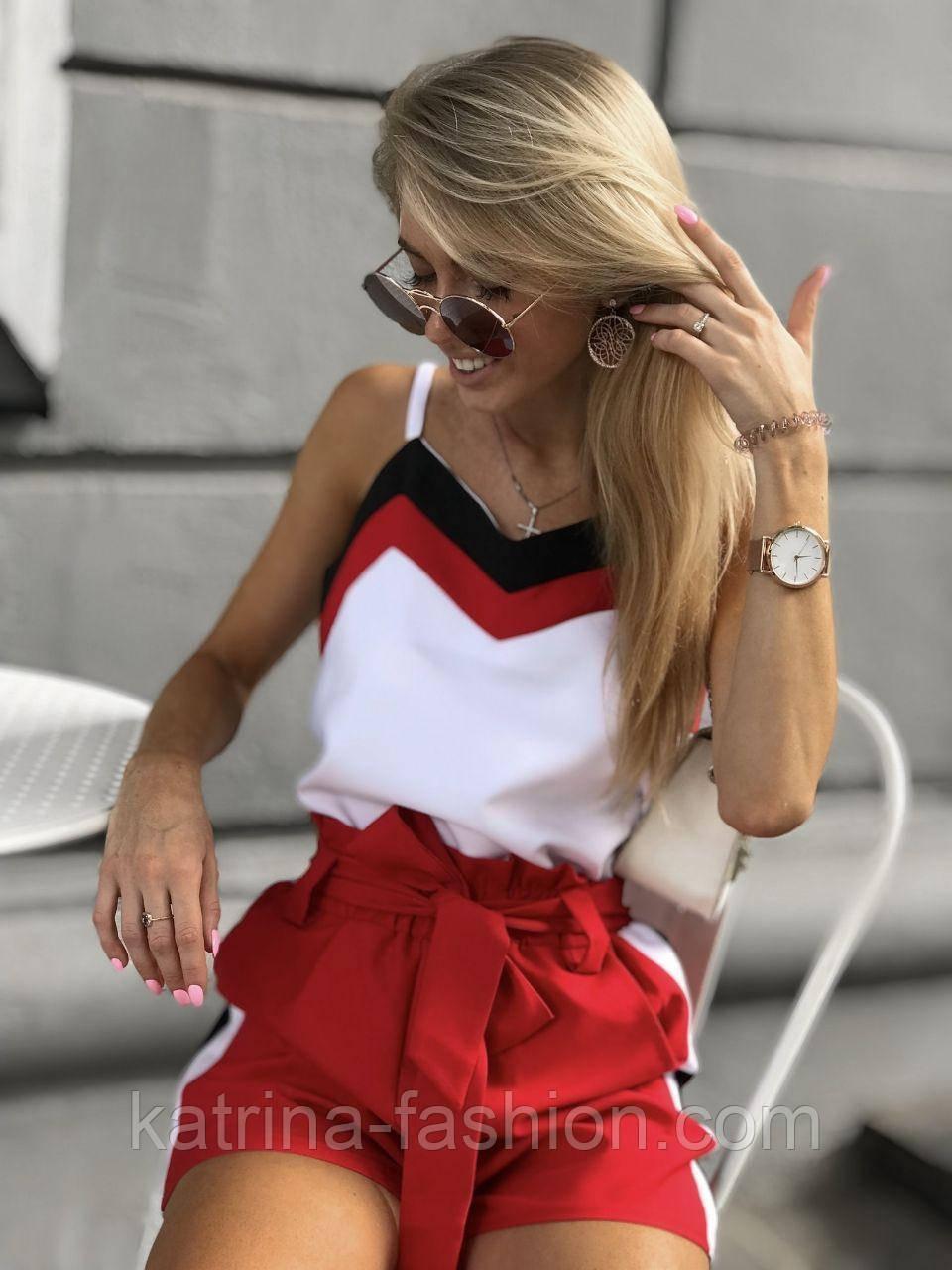 Женский летний костюм: майка и шорты с высокой посадкой
