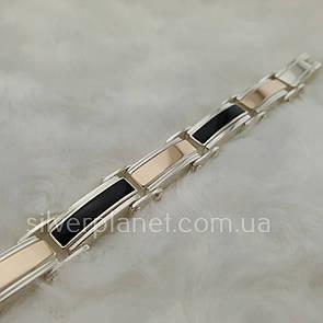 Мощный мужской серебряный браслет с золотом и ониксом. Серебро 925 + золото 375