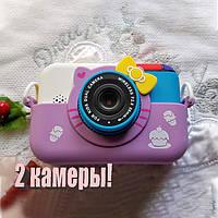 28 Мп Детский цифровой фотоаппарат Hello Kitty Хелло Китти Фиолетовый  2 камеры