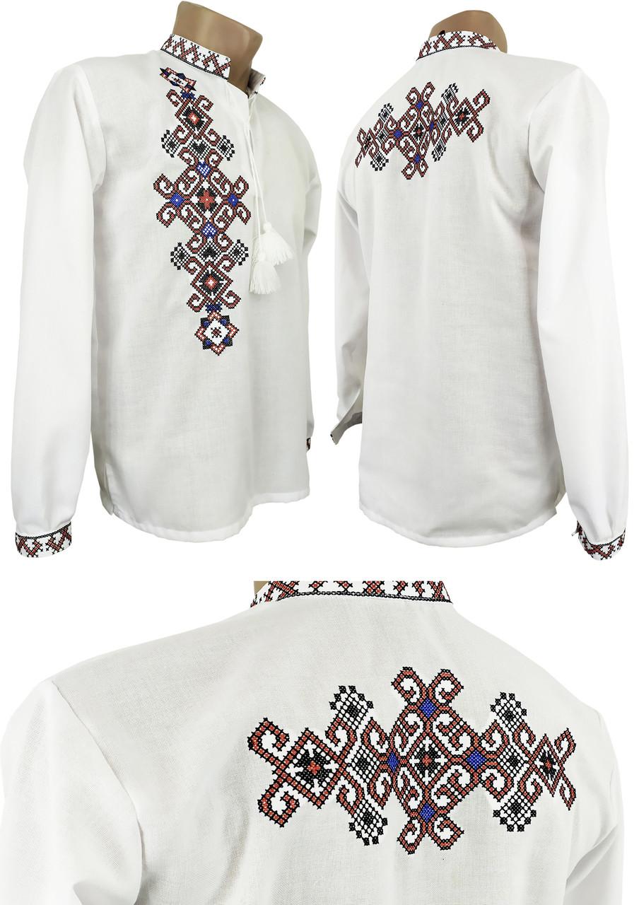 """Современная мужская вышитая рубашка в больших размерах с вышивкой на спине """"Фламинго"""""""