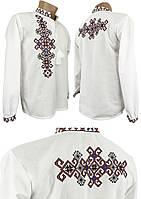 """Современная мужская вышитая рубашка в больших размерах с вышивкой на спине """"Фламинго"""", фото 1"""