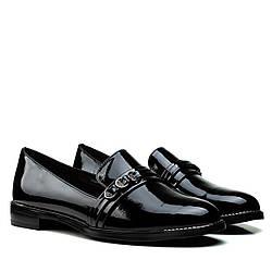 Туфли лоферы женские BELLAVISTA (черные, натуральные, на низком ходу)