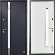 Дверь входная металлическая ZIMEN Rio, Optima Plus, Kale, Vinorit, Антрац песок / Белое дерево, 950х2050, лев