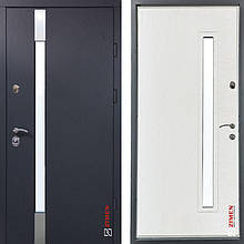 Дверь входная металлическая ZIMEN Rio, Optima Plus, Kale, Vinorit, Антрац песок / Белое дерево, 950х2050, прав
