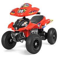 Квадроцикл M 2403ALR-3 (1шт) 2мотора 28W, 2аккум 6V7AH,рез.колеса,кож.сид.ручка.газа.,красный,