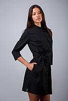 Халат для косметолога, платье-халат для бьюти мастера, униформа для салона красоты, цвет: черный