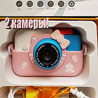 28 Мп Детский цифровой фотоаппарат Hello Kitty Хелло Китти Розовый  2 камеры