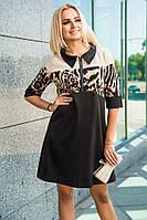 Модное осеннее женское платье с воротником Черное+Леопард, фото 1