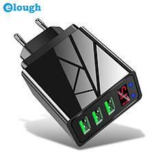 Універсальний зарядний пристрій Elough SLS-B05 18 Вт з LED індикацією. 3 USB порту. Швидка зарядка 3A Black