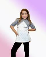 Туника + болеро вязаное для девочки р 104-128, разные цвета