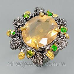 Серебряное кольцо с ФЛЮОРИТОМ (натуральный), серебро 925 пр. Размер 16,5