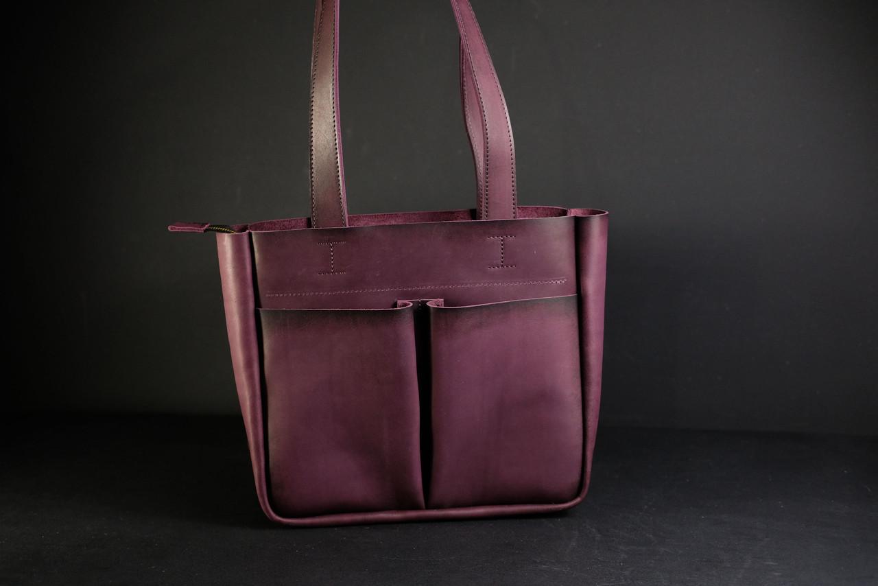 Шоппер с двумя карманами Кожа Итальянский краст цвет Бордо