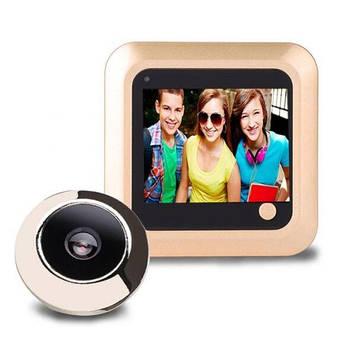 Відеовічко дверної кольоровий для квартири Kivos P100 з 2.4-дюймовим екраном і збереженням фото Золотистий (100389)