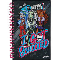 Блокнот с картонной обложкой на спирали Kite, Monster High, 80 листов, А5