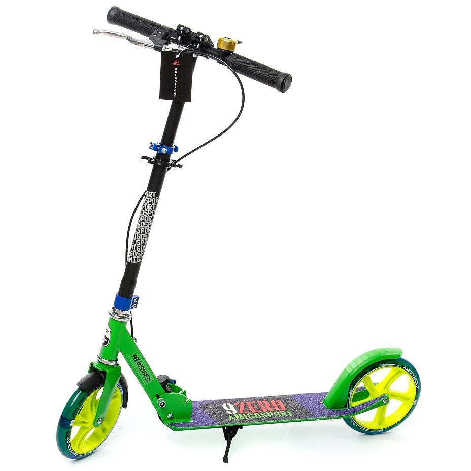 """Двухколёсный самокат AmigoSport """"Glider"""" с ножкой и ручным тормозом, Зелёный"""