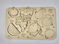 """Рамка вкладыш """"Фрукты-ягоды"""", деревянный пазл сортер для детей. Карточки вкладыши из дерева для раскраски."""