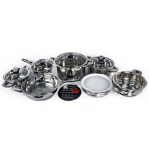 🔝 Набор кухонной посуды, из нержавеющей стали, Supretto, 16 предметов   🎁%🚚