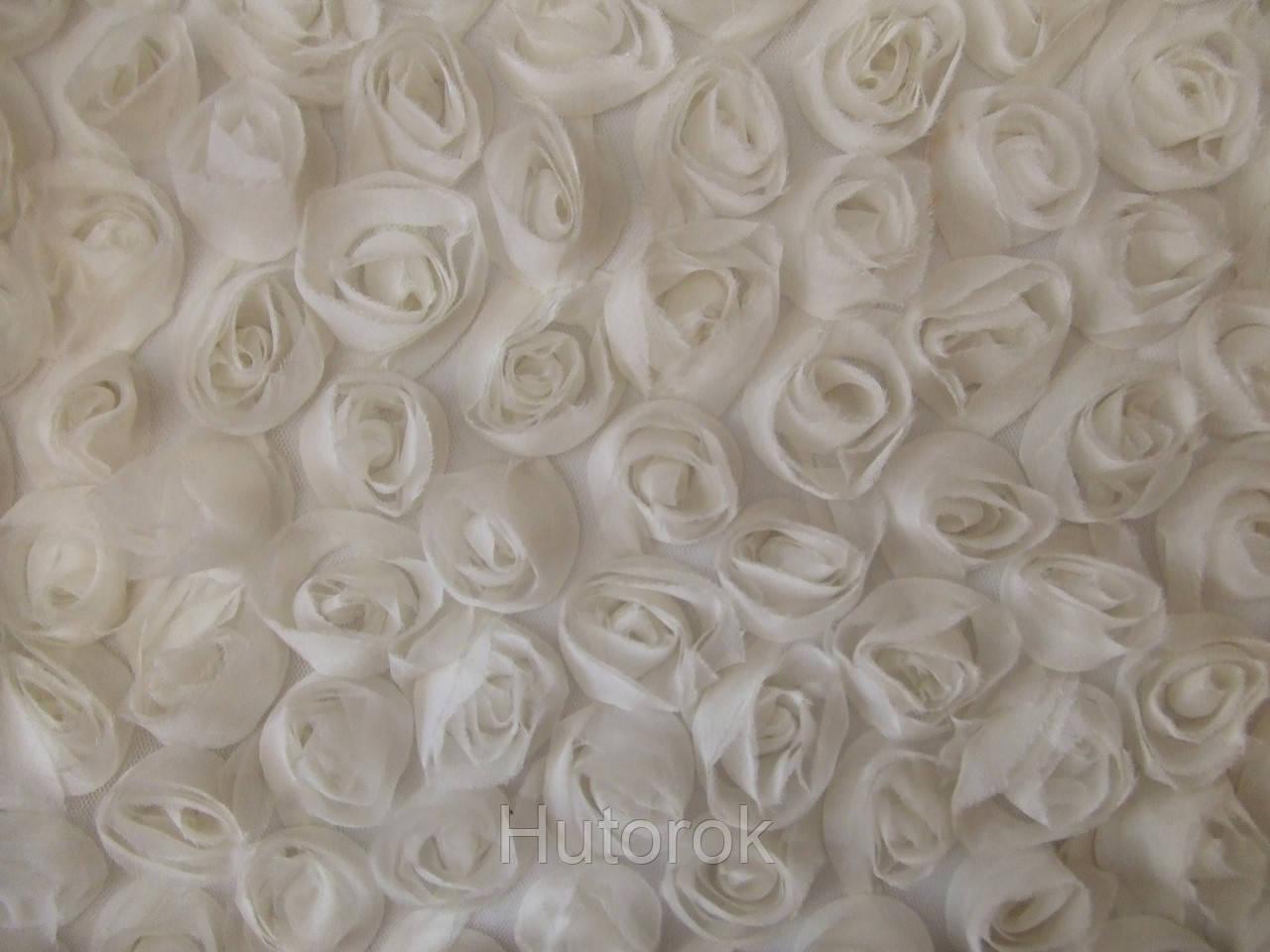 Шифоновые розы 3D (белый)