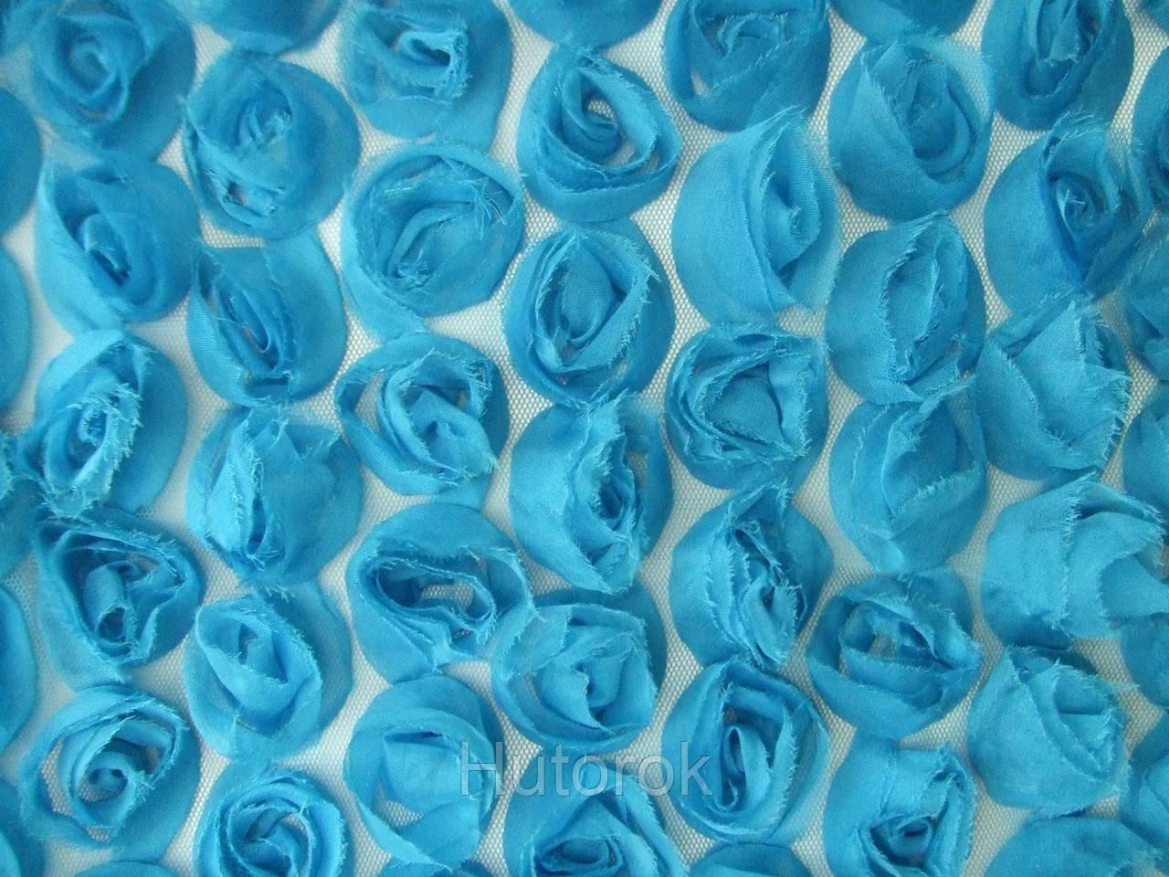 Шифоновые розы 3D (голубой)