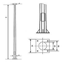 Металлическая опора уличного освещения 8 м. PO-172-F(3) фланец 220х300
