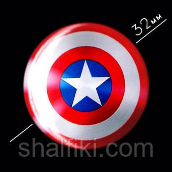 """""""Капитан Америка щит"""" значок круглый на булавке Ø32 мм"""