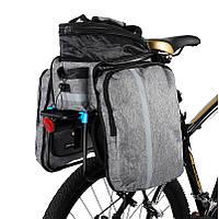 Сумка на багажник для велосипеда West Biking. Раскладываемая до 20 литров. Серая.