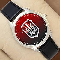 Часы со стильным Гербом України, серебристый корпус, черный ремешок, фото 1