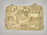 """Рамка вкладыш """"Ягоды"""", деревянный пазл сортер для детей. Карточки вкладыши из дерева для раскраски."""
