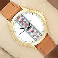 Часы с орнаментом, золотистый корпус, коричневый ремешок