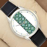 Часы с зелено-синим орнаментом, серебристый корпус, черный ремешок