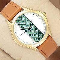 Часы с зелено-синим орнаментом, золотистый корпус, коричневый ремешок