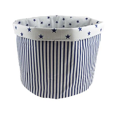Мешок (корзина) для хранения, Ø45 * 40 см, (хлопок), с отворотом (полоски синие / синие звездочки)