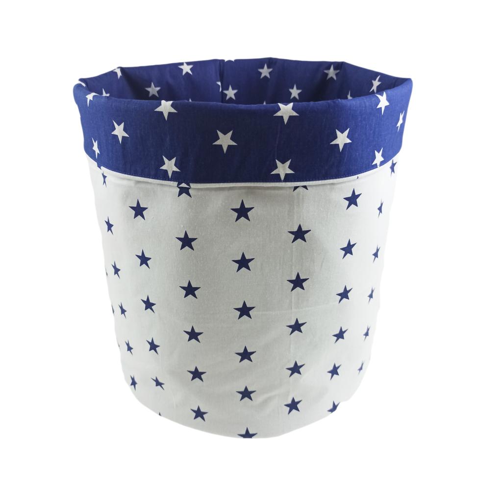 Мішок ( корзина ) для зберігання, Ø35*45 см, (бавовна), з відворотом (сині зірочки/зірочки на синьому)