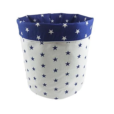 Мешок (корзина) для хранения, Ø35 * 45 см, (хлопок), с отворотом (синие звездочки / звездочки на синем)
