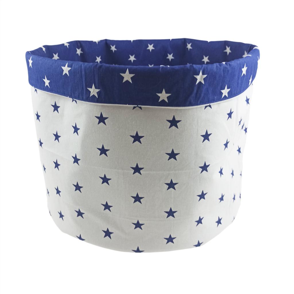 Мішок ( корзина ) для зберігання, Ø45*40 см, (бавовна), з відворотом (сині зірочки/зірочки на синьому)