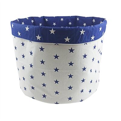 Мешок (корзина) для хранения, Ø45 * 40 см, (хлопок), с отворотом (синие звездочки / звездочки на синем)
