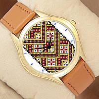 Часы с вышиванкою, золотистый корпус, коричневый ремешок