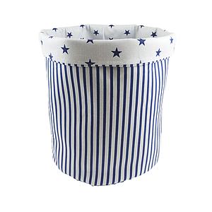 Мішок ( корзина )  для зберігання, Ø35*45 см, (бавовна), з відворотом (смужки сині/сині зірочки)