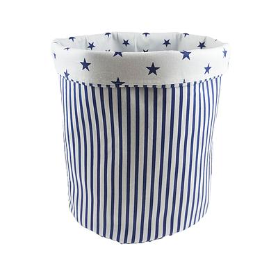 Мешок (корзина) для храниения, Ø35*45 см, (хлопок), с отворотом (полоски синие/синие звездочки)