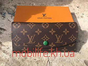 Стильний портмоне луї вітон, Жіночий гаманець Louis Vuitton Коричневий з кнопкою Зеленої/Висока Якість/Копія