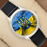 Часы с Флагом Украины, серебристый корпус, черный ремешок, Perfect