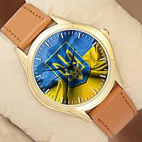 Часы с Флагом Украины, золотистый корпус, коричневый ремешок