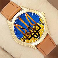 Часы с Гербом, золотистый корпус, коричневый ремешок