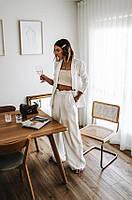 Білий жіночий лляний піджак вільного крою . Колір та розмір в асортименті 40-72+, фото 1