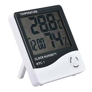 🔝 Термометр гигрометр с часами и будильником HTC-1, с доставкой по Киеву и Украине   🎁%🚚